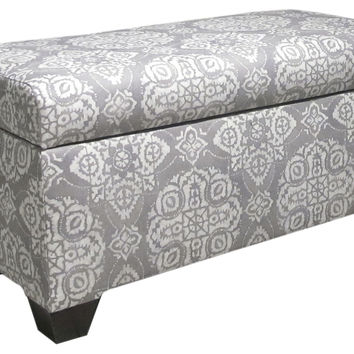 "Hayworth 38"" Storage Bench, Gray/White, Entryway Bench, Bedroom Bench"