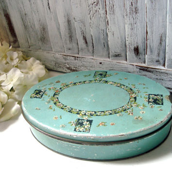 Vintage Tindeco Tin Storage Box, Decorative Distressed Storage Tin Box, Keepsake Box,  Light Aqua Box