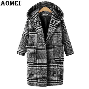Winter Woolen Oversize Plaid Coat for Women Manteau Plus Size Outerwear with Cap Single Breasted Full Sleeve Wool Fashion Style