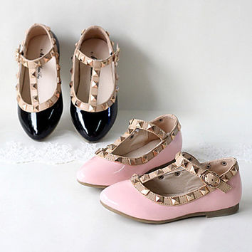 Patent Leather Girl's Flat Heel Mary Jane Flats Shoes With Rivet(More Colors)