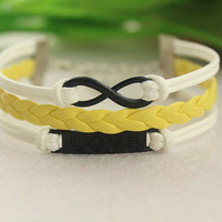love infinity bracelet--Electrophoresis black charm bracelet,yellow braid leather and white wax string