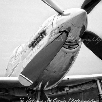 P-51 Mustang propeller, aviation photo, black and white airplane art, pilot gift, Cloud Dancer, boys room, nursery