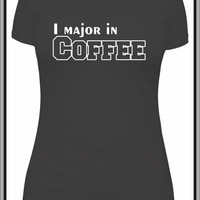 I Major In Coffee funny tshirt, college student