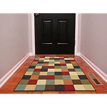 "Ottomanson Ottohome Multi-Color Contemporary Checkered Design Modern Area Rug with Non-SkidRubber Backing, 3'3"" W X5'0"" L"