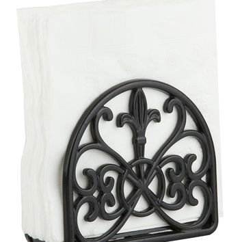 Home Basics Cast Iron Fleur De Lis Napkin Holder Black