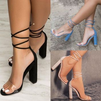 Womens Block Heel Ankle Strap Lace Up Sandals Ladies Peep Toe Clear Party Shoes