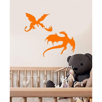 Vinyl Wall Decal Fire-Breathing Dragons Fantasy Dragons Animals Stickers (2489ig)
