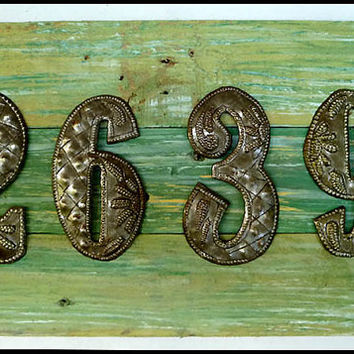 House Number Sign, 4 Address Numbers, Metal Numbers, Handcrafted Address Sign, Pallet Wood, Reclaimed Wood, Address Plaque, A3-4-AQ-4
