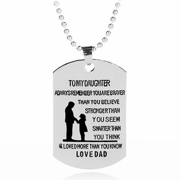 Dog Tag Necklace To Daughter From Dad - Stainless Steel Hand Stamped