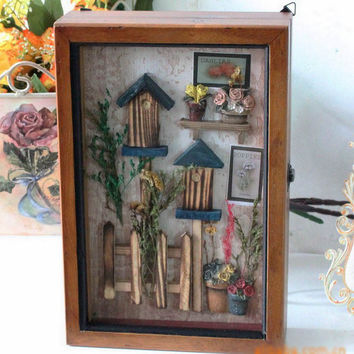 Large Bird Cage Wood Key Box Home Decor Wall Mount Storage Key Hanging Holder