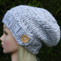 Hand Knit Hat Women's Hat- Knitted- Slouchy beanie hat with natural wooden button