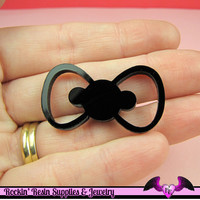 3 pc BOW in Black Flatback Decoden Laser Cabochons 38x21mm