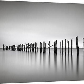 Black and white canvas wall art ocean beach photography seascape photo zen modern minimalist silver grey