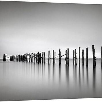 Black and White Canvas Wall Art Ocean Beach Photography Seascape Photo Zen Modern Minimalist Silver Grey Decor Pier Dock Pilings