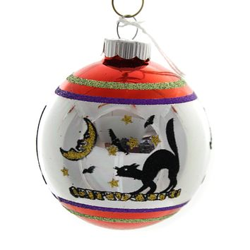 Shiny Brite HALLOWEEN SIGNATURE FLOCKED.. Glass Ornament Ball 4026976S A