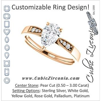 Cubic Zirconia Engagement Ring- The Ruth (Customizable 7-stone Pear Cut Style with Vintage Filigree)