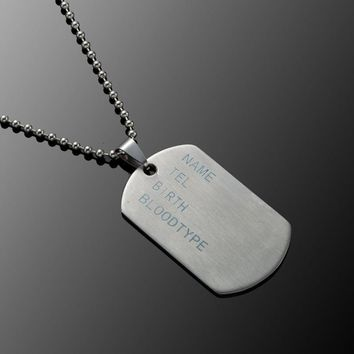 Stainless Steel Mens Necklace Stainless Steel Pendant  Dog Tags Army