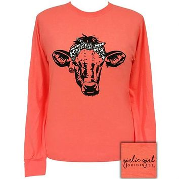 Girlie Girl Originals Preppy Leopard Bandana Cow Coral Long Sleeve T-Shirt