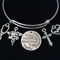 Medical Doctor Cross MD Expandable Charm Bracelet Adjustable Silver Wire Bangle