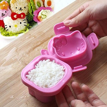 New Arrivals Cute Cat Sushi Rice Egg Mold Moulds Baby Bentos DIY Seaweed Cutter Tools Sets Free Shipping