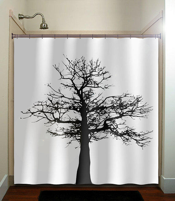 Gray Black Tree Shower Curtain Bathroom From Tablishedworks On