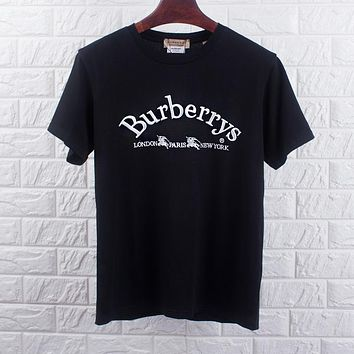 BURBERRY Trending Women Men Stylish Embroidery Pure Cotton T-Shirt Top Blouse Black
