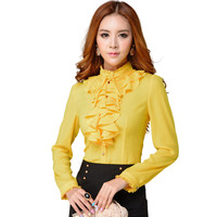 Fashion stand collar long sleeve yellow female shirt OL office Formal elegant ruffles chiffon women's blouse plus size bow tops