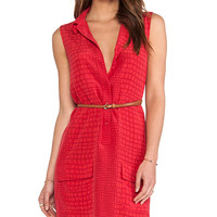 Equipment Sleeveless Lucida Crocodile Blouse in Red