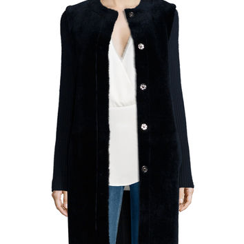 Loriely Deauville Lamb-Fur Coat, Size: SMALL, NAVY - Theory