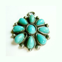 Vintage Pendant Petit Point Zuni Flower with Nine Turquoise Cabs, Native American Pendant