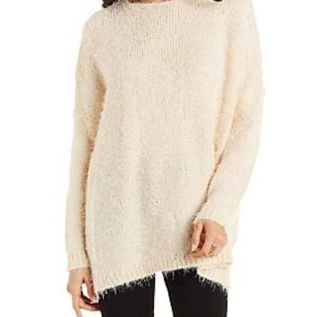 FUZZY OVERSIZED DROPPED SHOULDER PULLOVER SWEATER