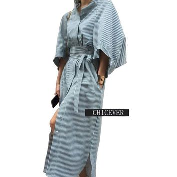 [CHICEVER] Summer Kimono Cloak Sleeves Striped Loose Long Shirt Women Dress With Belt Lace Up High Waisted New Clothing