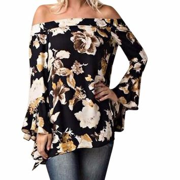 Women's Black Floral Off The Shoulder Bell Sleeve Blouse/Top