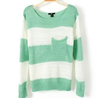 Striped loose sweater D12 hotsale