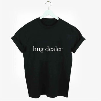 New Casual Fashion Style HUG Dealer letters print  Cotton  T-shirt  Women for Lady Tees