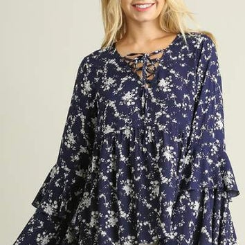 Umgee Layered Bell sleeve peasant top with vintage Floral print