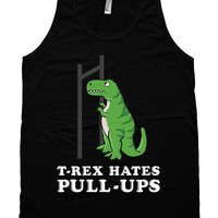 Funny Workout Tank T-Rex Hates Pull-Ups T Rex Clothing Fitness Tank Top American Apparel Workout Gear Gym Clothes Unisex Mens Tanks WT-205