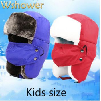 Children Boy Girl Super Thick warm Leifeng Trooper Trapper Snowboard Winter Aviator Bomber Earflap Kids Ski Hat CaP With Mask