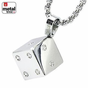 """Jewelry Kay style Men's Jewelry Stainless Steel 3D Dice Pendant 3 mm Box Chain 24"""" SCP 173 S"""