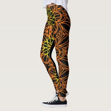 Psychedelic Orange Floral Leaves Leggings
