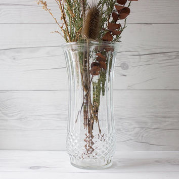 Large Vintage Hoosier Glass Clear Flower Vase