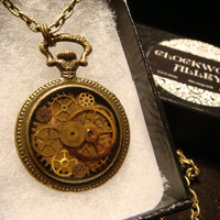Steampunk Pocket Watch  Pendant Necklace with Watch Part Gears(1860)
