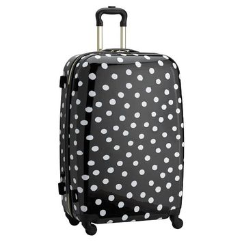 The Emily & Meritt Hard-Sided Checked Spinner, Black/White Dot