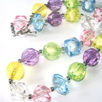 Spring Beaded Chunky Necklace Girls To Women Yellow Lavender Pink Blue Green Pastel Fashion Jewelry