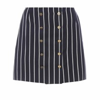 Striped wool and cotton miniskirt