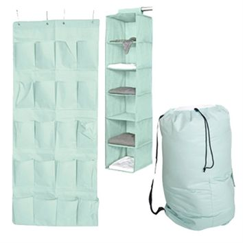 TUSK 3-Piece College Closet Pack - Calm Mint (Over Door Shoe Version)