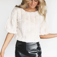 Be Unique Ivory Faux Fur Top