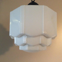 Vintage Art Deco Skyscraper MilkGlass Pendant Light 1930s Rewired