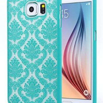 Galaxy S6 Case, NageBee - Samsung Galaxy S6 Diva Lace Damask Design Ultra Slim Translucent Rubber Coating Hard Case for Samsung Galaxy S6 (Lace Teal Green)