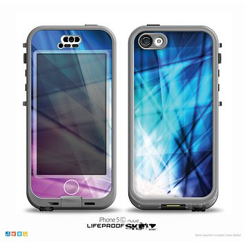 The Vibrant Blue and Pink Neon Interlock Pattern Skin for the iPhone 5c nüüd LifeProof Case
